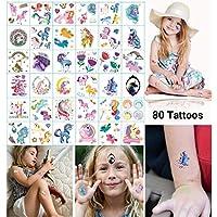 Dream Loom Fiesta de cumpleaños de Tatuajes temporales para niños, Unicorn Party Supplies Supplies Favors, Pegatinas de Tatuajes extraíbles para niñas (Tatuajes de Unicornio, 36 Hojas)