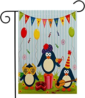 Custom Double Sided Seasonal Garden Flag Birthday Decorations for Kids Cartoon Penguin Party with Flags Cakes and Box Light Blue and Fern Garden Flag Waterproof for Party Holiday Home Garden Decor
