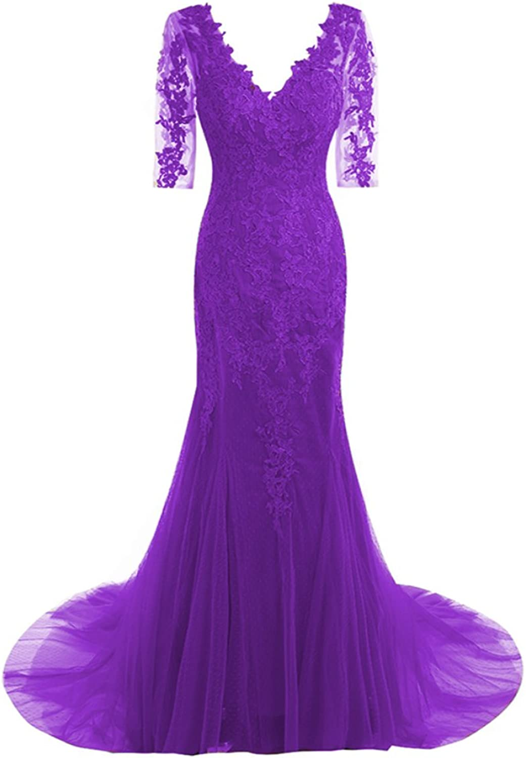 QiJunGe Modest V Neck Mermaid Evening Gowns Appliques Lace Half Sleeve Gowns