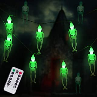 Ghost Skeleton Lights Halloween String Lights, 15 LED Battery-Powered Remote-Control Halloween Decoration for Outdoor, Ind...