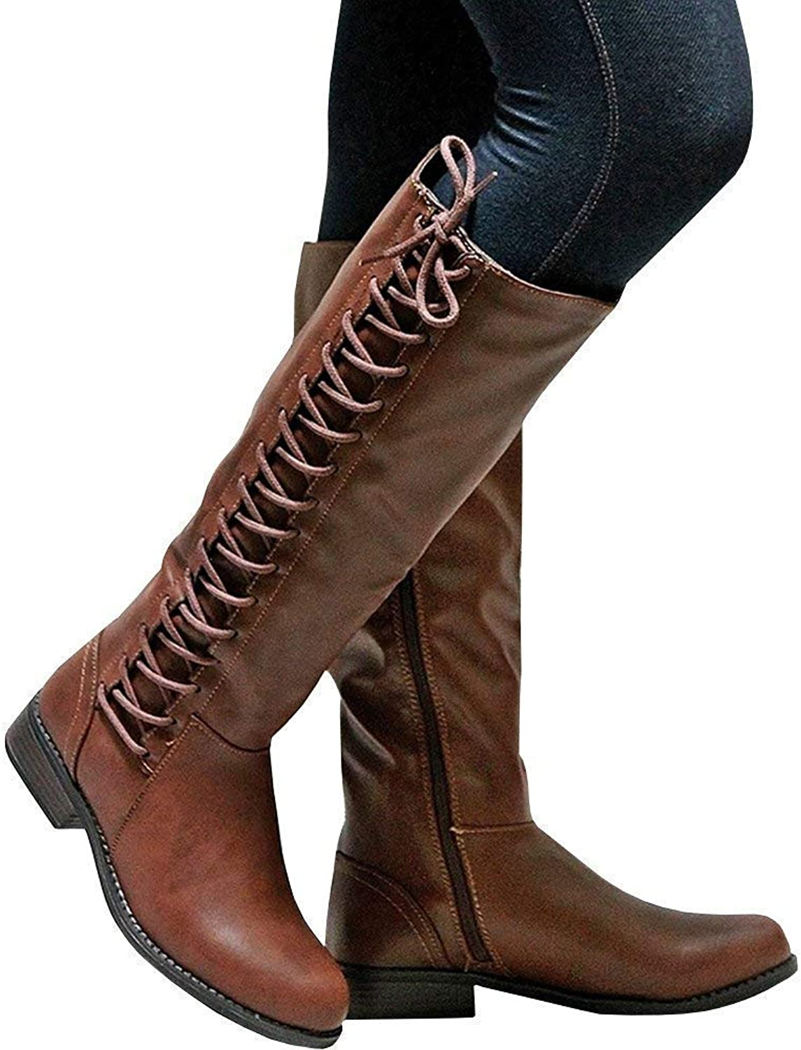 Womens Knee High Boots Zip Riding Leather Flat Boots Lace Up Autumn shoes(-)