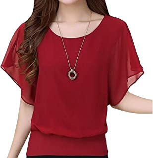 flywinner Women All-match Chiffon Blouse O-Neck Plus Size Short-Sleeve Tops T Shirt
