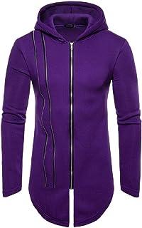 WUFAN Men's Irregular Hem Zip with Hood Pure Color Pullover Sweatshirt