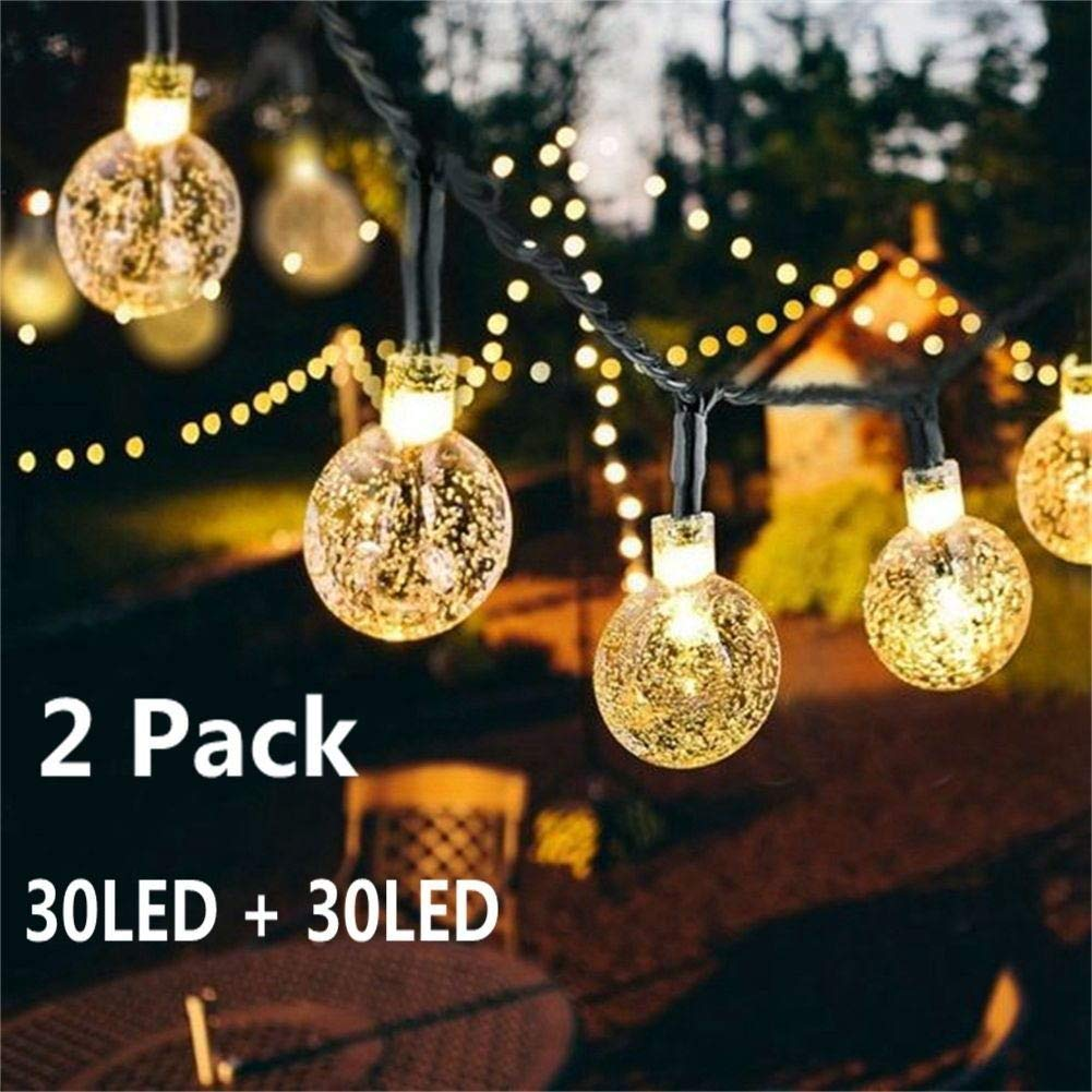 Solar Globe String Lights 30 LED 19.8ft Outdoor Crystal Ball Christmas Decoration Light Waterproof Solar & Cute Patio Solar Lights: Amazon.com