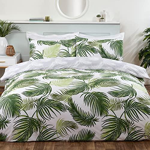 Sleepdown Juego edredón y Fundas de Almohada para Cama de Matrimonio (200 x 200 cm), diseño de Hojas Tropicales, Color Verde, Blanco y Gris, Polialgodón, Doublé