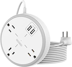 Mountable Power Strip Flat Plug Extension Cord 15ft, NTONPOWER 3 Widely Spaced Outlets Power Strip with USB Ports, Nightstand Charging Station, Compact Size for Home Office, Dorm Essentials, White