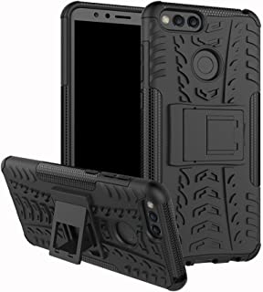 Huawei Honor 7X Case, Huawei Mate SE Case, Linkertech [Shockproof] Tough Rugged Dual Layer Protector Hybrid Case Cover with Kickstand for Huawei Honor 7X / Mate SE (Black)
