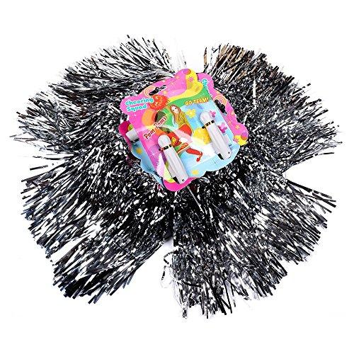 Schramm® 12 Stück (6x2) Pom Poms Farbe: Silber Pompoms Tanzwedel Cheerleader Puschel Tanzpuschel Cheerleading 12er Pack