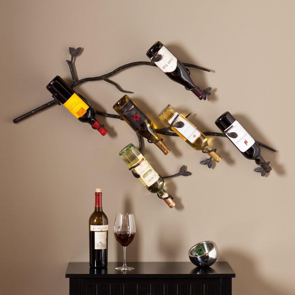 Wine Rack Wall Mounted Metal Wine Racks Black Decorative Wrought Iron Storage Six Bottle Holder Cellars Furniture Decor Amazon Com