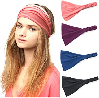 Catery Sport Headbands Yoga Runing Headband Headpiece Stretchy Head Wrap Hair Band Vintage Cloth Elastic Fabric Turban Hai...