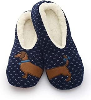 Sherpa Womens Blue Wiener Dog Slippers/Dachsund Slippers