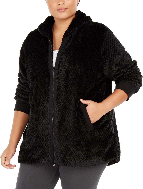 Ideology Womens Plus Winter Faux Fur Coat
