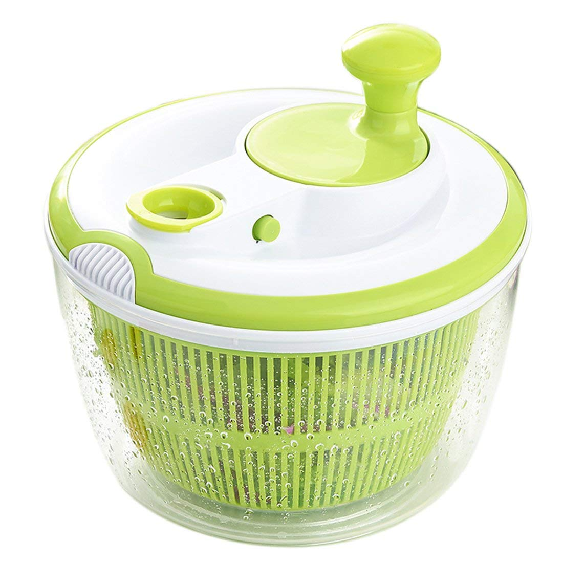 Tebery 5L Healthy Eating Large Salad Spinner and Dresser, Green and White, Dia 25 cm