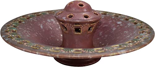 Roseville Pottery Ferella Red Ceramic Bowl with Attached Flower Frog 87-8