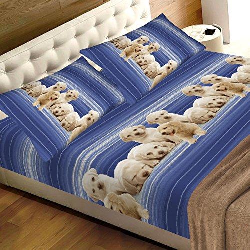 completo lenzuola matrimoniali con animali cuccioli cane, puro cotone sotto con angoli matrimoniale maxi sopra e due federe completo matrimoniale azzurro fantasia stampa CANI labrador