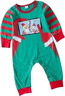 Unmega Baby Boy Girl Christmas Pajamas Santa Onesie Striped Sleeve Romper