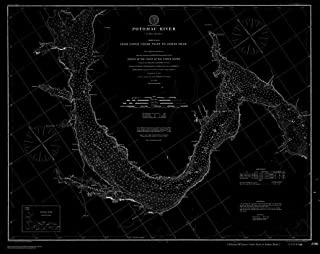 Vintography 18 x 24 Fine Art Canvas Wrap Blueprint Style Nautical Chart of Navigation Chart for The Potomac River, Sheet 3, from Lower Cedar Point to Indian Head 1902 C&GS 81a