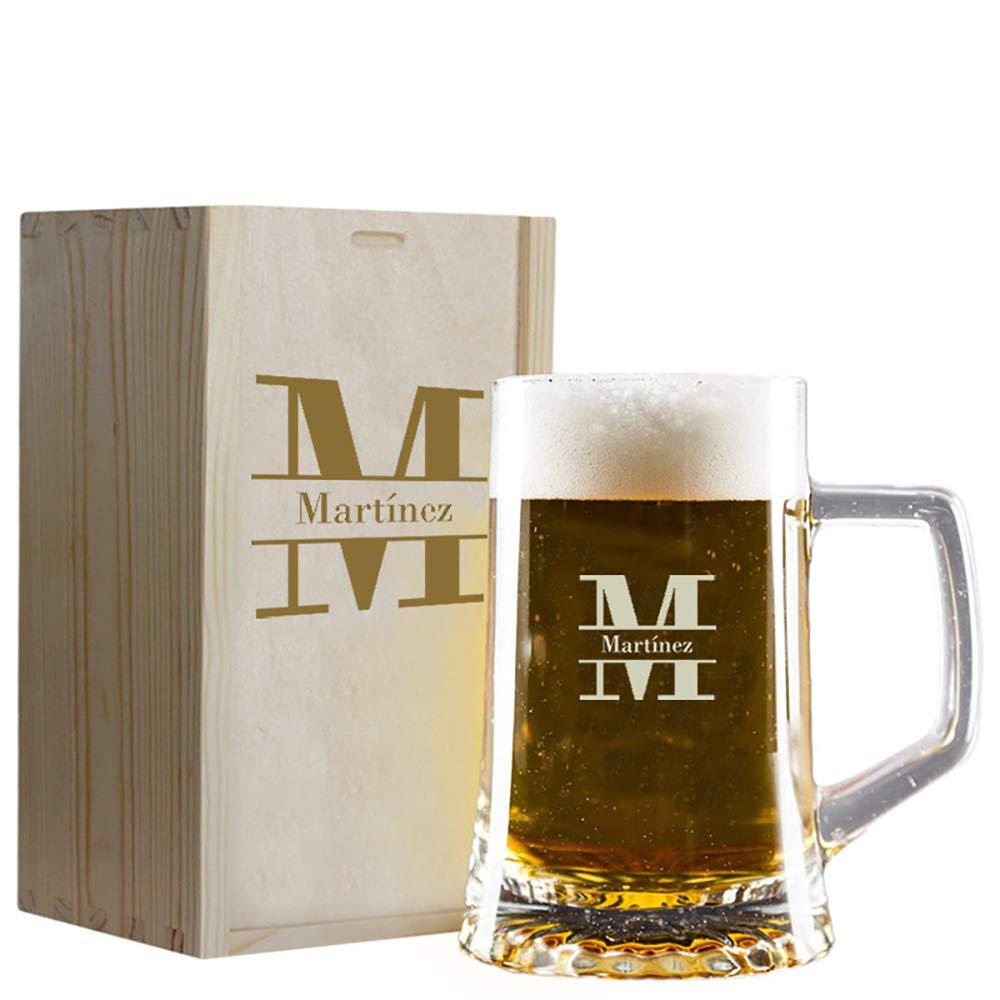 Calledelregalo Regalo Personalizado: Jarra de Cerveza con Inicial grabada en Caja de Madera también Personalizada: Amazon.es: Hogar
