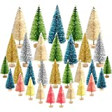 KUUQA 38Pcs Multicolor Mini Sisal Trees Bottle Brush Trees Mini Pine Trees with Wood Base Snow Frosted Trees Winter Snow Ornaments Tabletop Trees for Christmas Decorations Diorama Models