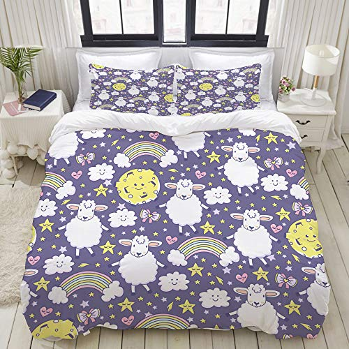 VANKINE 3PC Bedding Set The Cutest Pattern with Rainbow, Lamb, Moon, Stars, Bows, Hearts and Clouds 1 Duvet Cover with 2 Matching Pillowcases Dorm Room Decor Twin/Twin XL