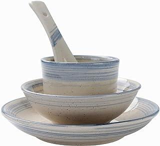 Dinnerware Sets الأطباق الإبداعية الرجعية من أربع قطعة مجموعة الأطباق، أكواب وملاعق، فندق سيراميك مائدة Kitchen Dinnerware...