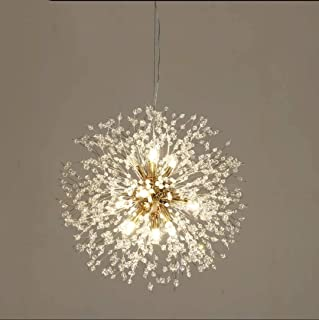 Lustre feu d'artifice 8 lustre décoratif en or LED éclairage perlé en cristal d'acier inoxydable