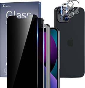 TOCOL [2+2 Pack] Compatible with iPhone 13 Mini 5.4'' - 2 Pack Privacy Tempered Glass Screen Protector & 2 Pack Camera Lens Protector, Bubble Free, Case Friendly, Installation Frame, [Anti-Spy]