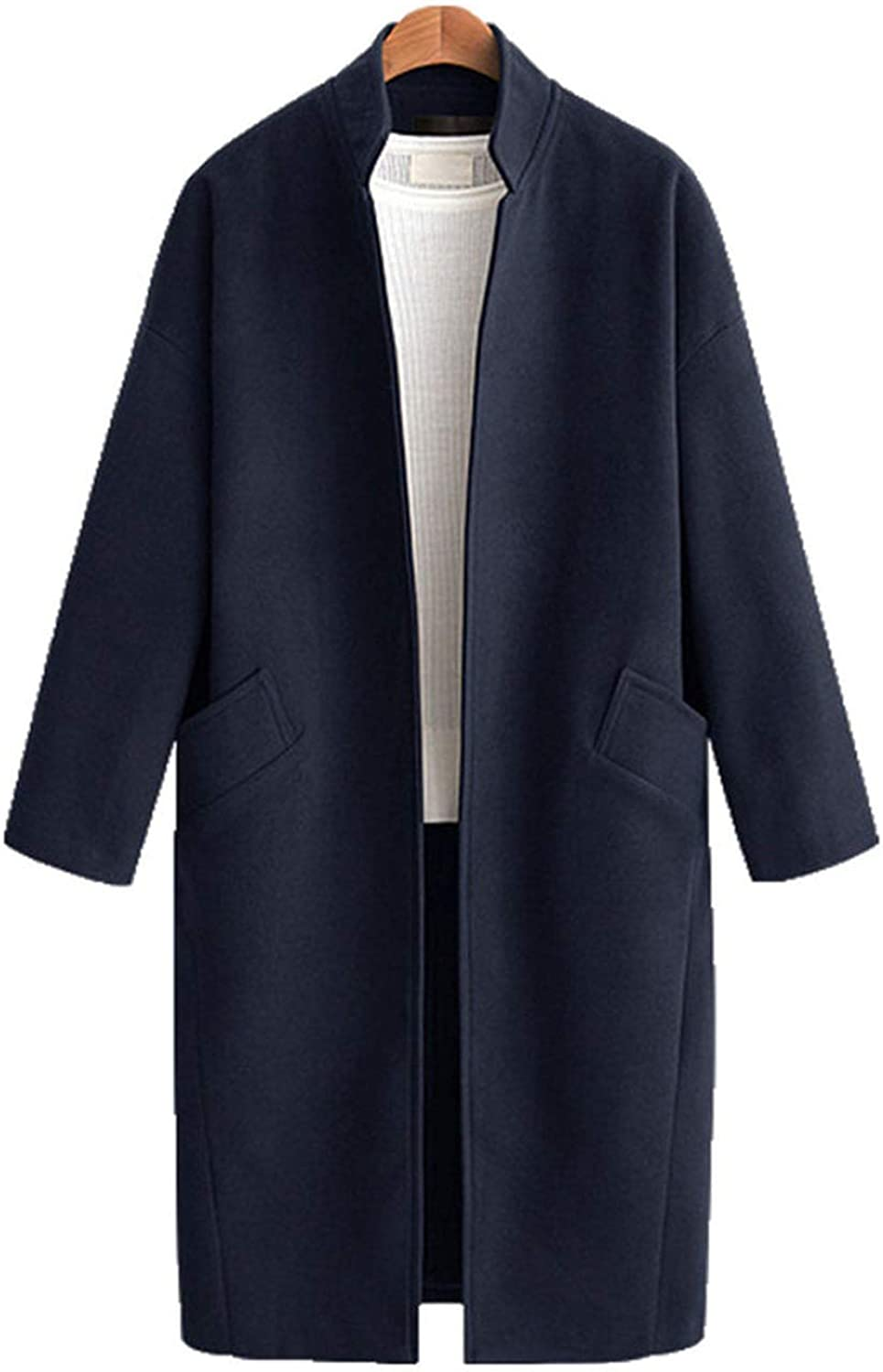 colorfulspace Women Long Wool Blends Coat Elegant Casual Thick Cardigan Cashmere Overcoat,Navy bluee,4XL