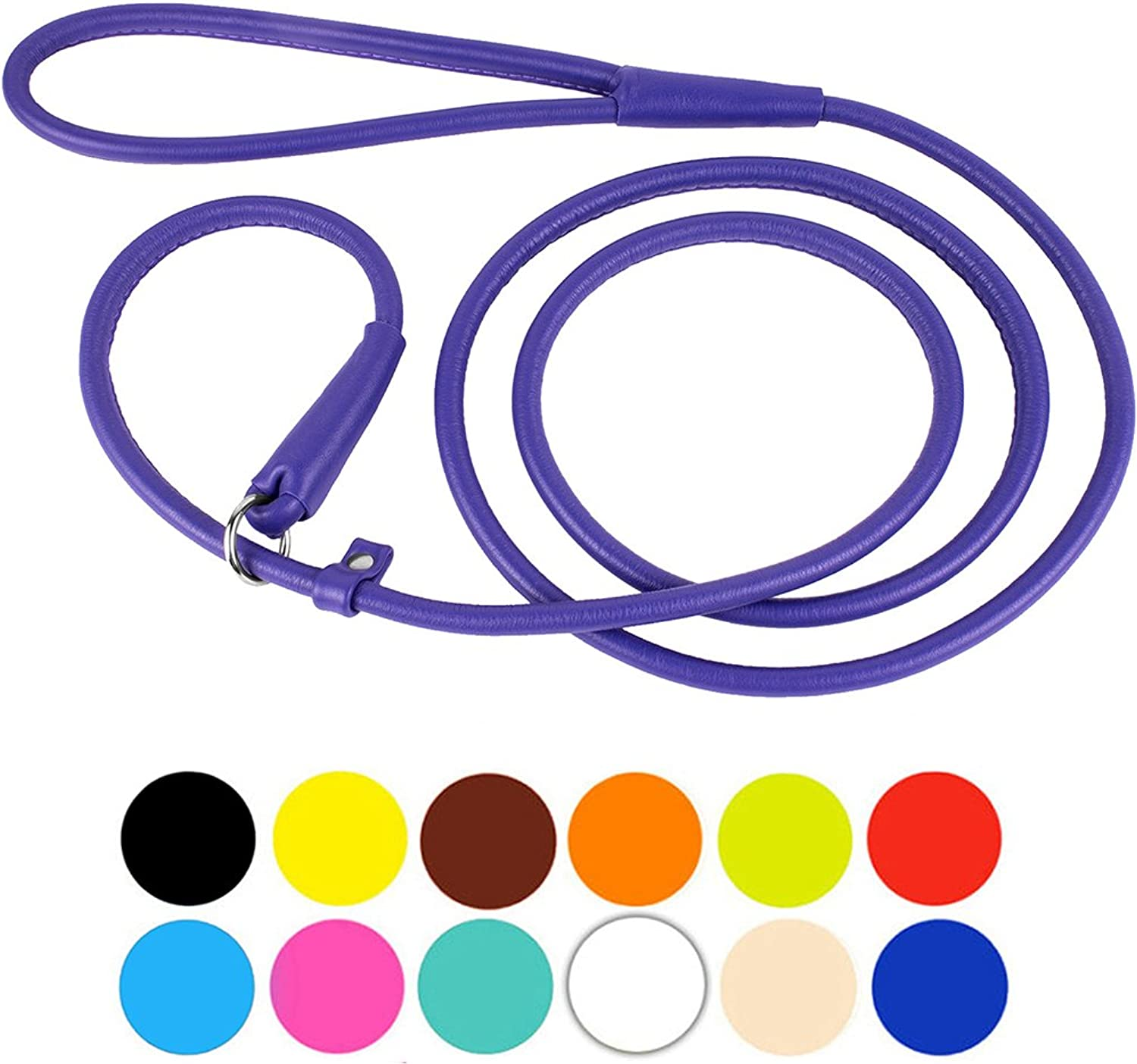 CollarDirect Rolled Leather Dog Leash 6ft or 4ft, Heavy Duty Slip Lead, Slip Leashes for Small Medium Large Dogs, Round Puppy Leash Female Male Pink Black Brown Red (S 6ft, Purple)