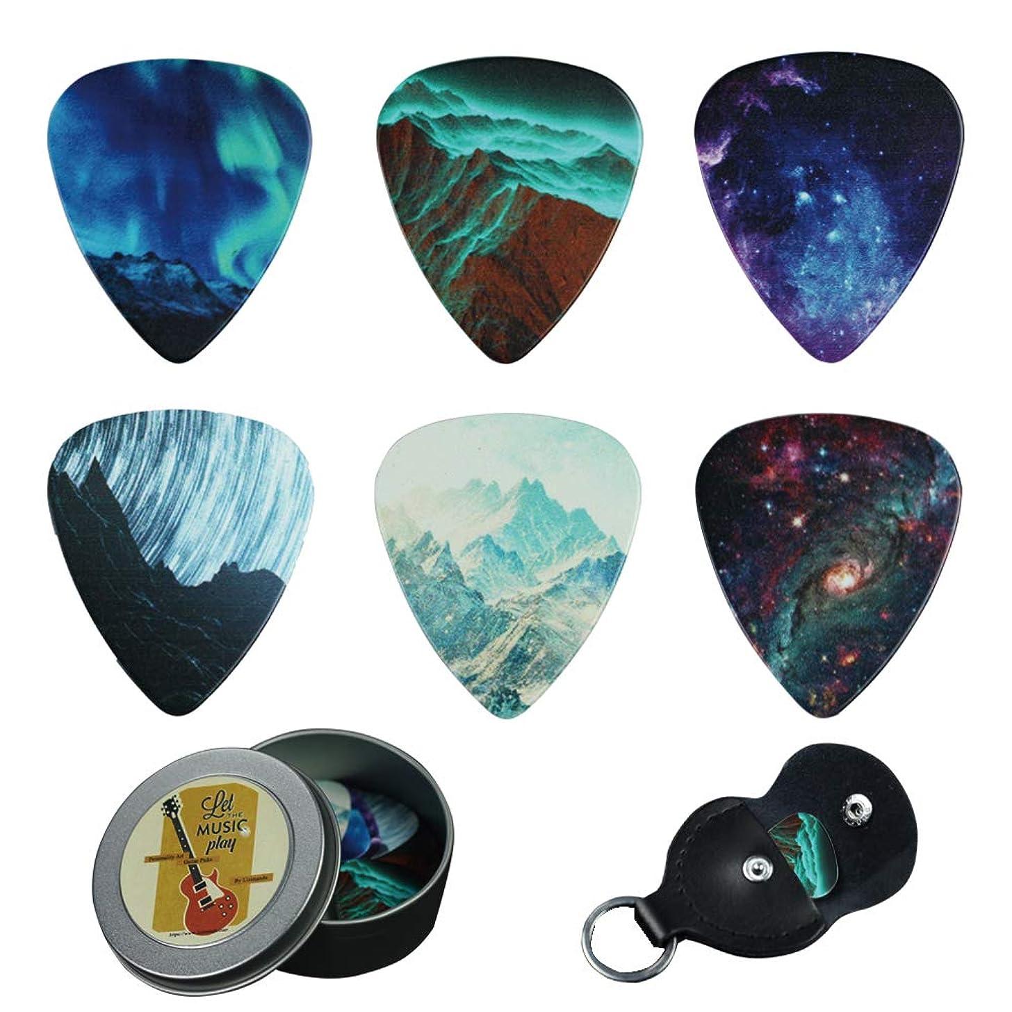 Guitar Picks - Cheliz 12 Medium Gauge Celluloid Guitar Picks In a Box W/Picks Holder. Unique Guitar Gift For Bass, Electric & Acoustic Guitars (Natural Image)