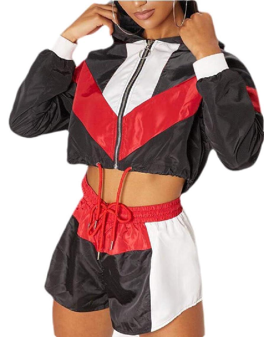 アボートドレス願望Womens Sexy 2 Piece Outfits Hood Clubwear Color Block Pullover Shorts Joggers Tracksuit Sportswear Set
