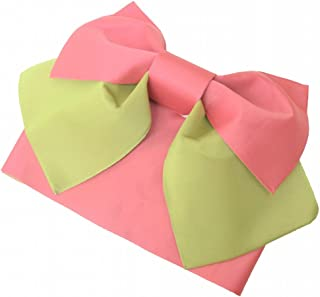 リサイクル着物 作り帯 中古 浴衣 化繊 付帯 浴衣帯 文庫結び 黄緑系 kka7721b