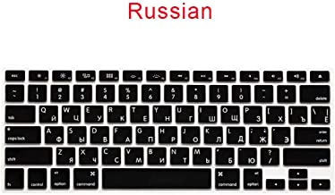 iwreuir Compatible for Black Ultra Thin National Language Keyboard Cover German Russian Arabic Spanish for MacBook Air Pro 13 Retina Laptop Accessories,Russian