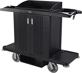 AMENITIES DEPOT Housekeeping Cart Hotel Trolley Utility Serving Cart with 2 Removable Caddies & Top Storage Shelf(SFC-01)