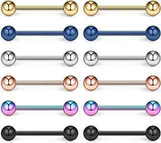 316L Stainless Steel Nipple Shield Barbell Ring Bar Body Piercing 14G 2-12PCS