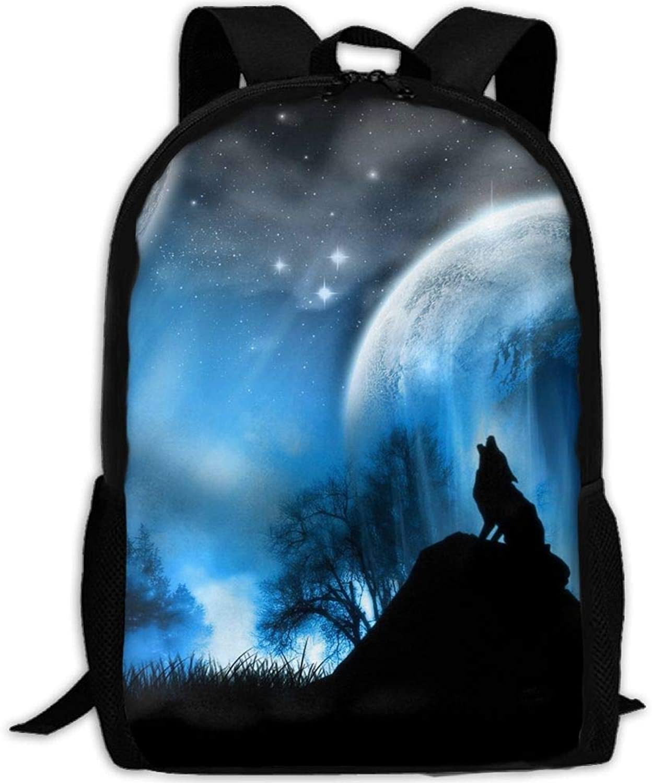 Midnight Wolf Howl Howl Howl College Laptop Backpack Student School Bookbag Rucksack Travel Daypack B07Q7MXG8F  Ästhetisches Aussehen c2248b