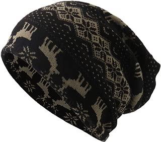 Unisex Christmas Hat for Adults Boho Hat Snood Beanie Cap Dual-use Hat Elk Fawn Prit Hat Bib Windproof Hats