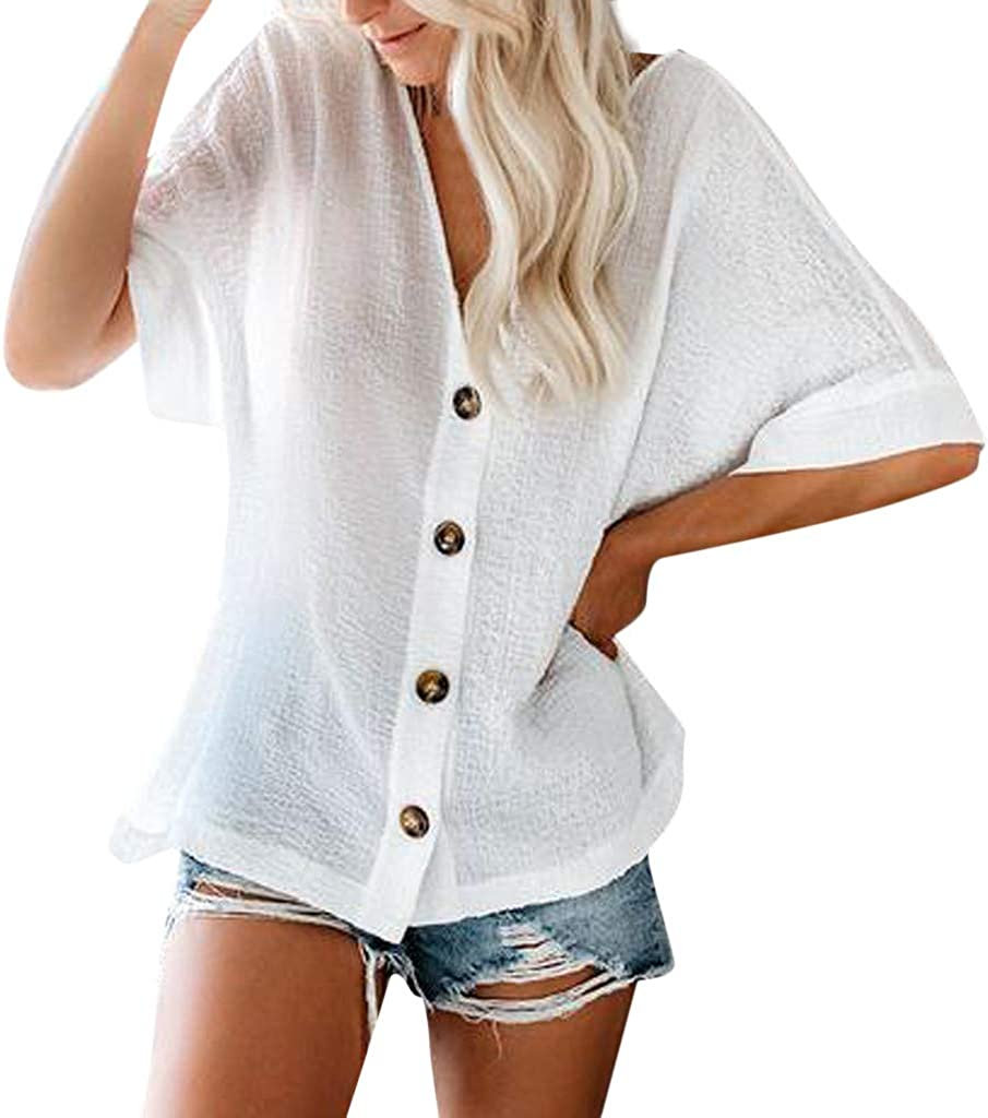 Short Sleeve T-Shirt for Women Casual Buttons Solid Color V-Neck Fashion Loose Tops Tee T-Shirt Blouses