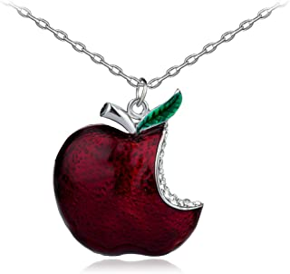 lan27 Once Upon A Time Snow White Regina Crystal Red Poison Apple Pendant Necklace