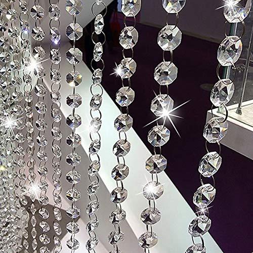 Juego de 6 cuerdas de perlas de cristal de 1 m, transparentes, perlas de cristal octogonal, para candelabro, cortina de puerta, decoración de boda, cortina de perlas, pulsera, fabricación de joyas