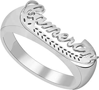 Pezebel Personalized Custom Sterling Silver Engraved Ring High Polish Tarnish Resistant Custom Name Ring