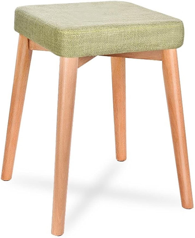 Green Solid Wood Home Stool Fashion Creative Cloth Table Stool