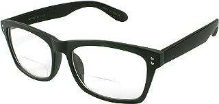 Edge I-Wear Buy 1 Get 1 Free BOGO New Wayfarer Style Plastic Reader with Clear Bifocal Lens 540748TCB2.25-4(Matte Gray/Matte BLK)