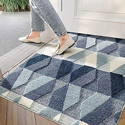 """DEXI Indoor Doormat Front Back Door Mat, 32""""x40"""" Water Absorbent Low-Profile Mud Mat Non Slip Large Door Rug for Inside Entrance Machine Washable(Blue Diamond)"""
