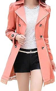 معطف نسائي بسيط وطويل مناسب من Fiere بياقة مستديرة أنيقة