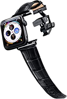 Longvadon Men's Watch Band - Compatible with Apple Watch Series 1, 2, 3 (42mm) & Series 4 (44mm) - Genuine Top Grain Leather - Caiman Series, Midnight Black with Black Details