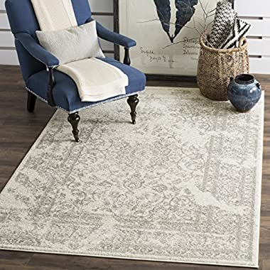Safavieh Adirondack Collection ADR101B Ivory and Silver Oriental Vintage Distressed Area Rug (3' x 5')