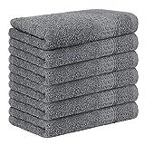 Yoofoss Set di 6 Asciugamani per Gli Ospiti 100% Cotone Asciugamani Viso Asciugamano da Bagno Strofinacci Canovaccio da Cucina 33x50 cm grigio