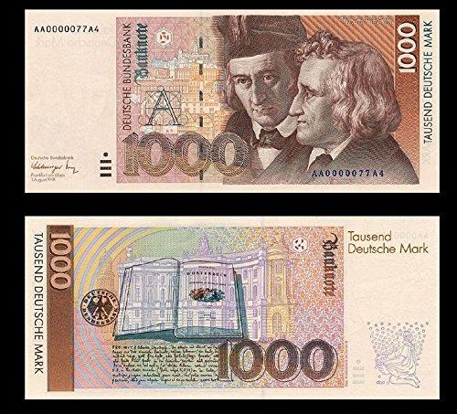 *** 2 Stück 1000 Deutsche Mark Geldscheine 1991 Alte Währung - Reproduktion ***