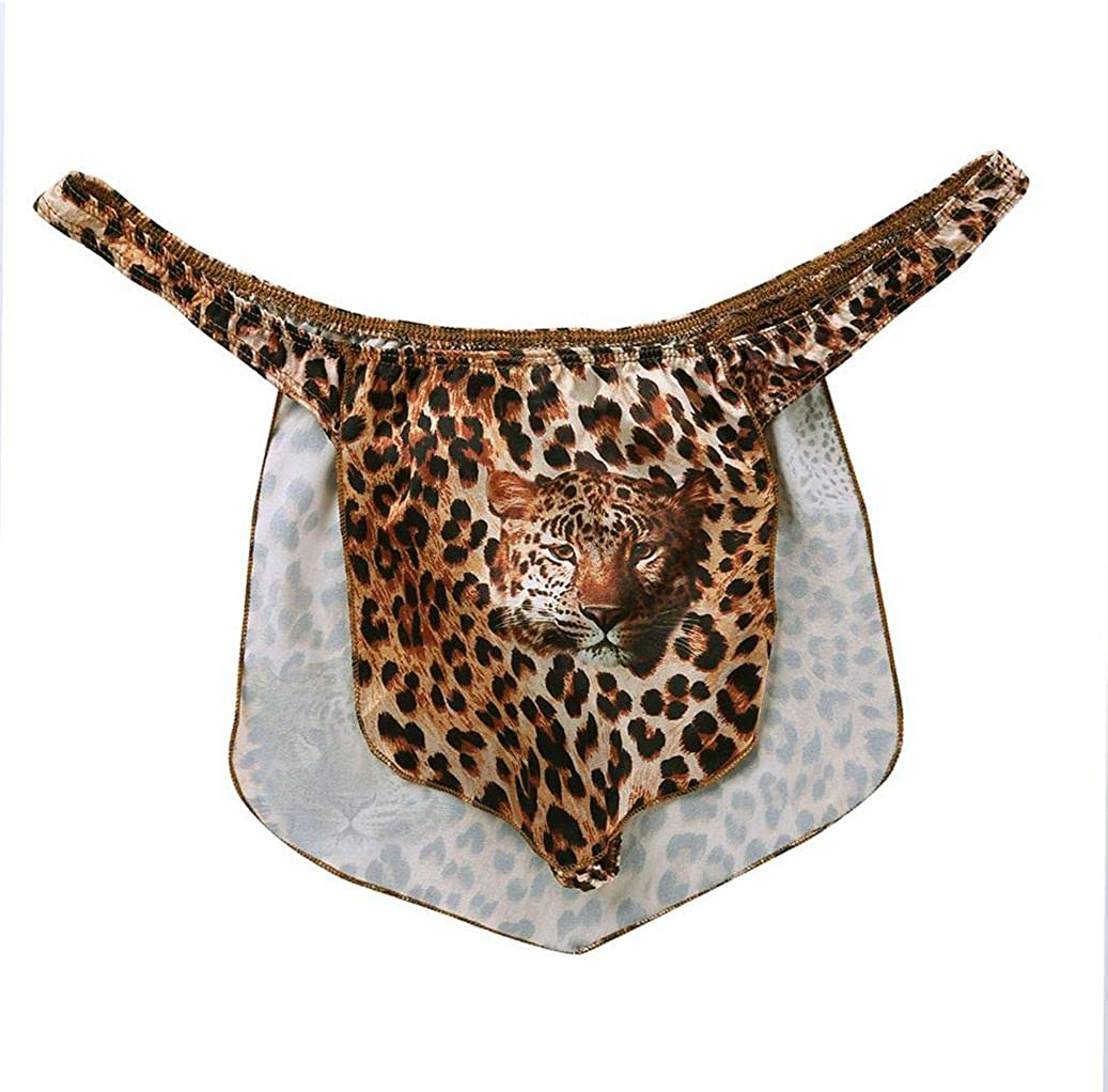 ranrann Fashionable Men's Halloween Jungle Man Costum Superlatite Printed Leopard Animal